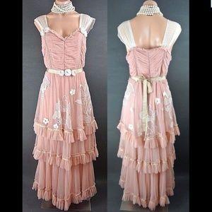 Nataya Dress Gatsby Style S Pink Formal Vintage